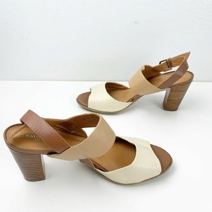 Naturalizer Earthy Tan/ Cream Color Block Heels